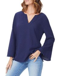 NYDJ - Fray Edge Bell-sleeve Cotton Popover Top - Lyst