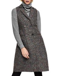 BCBGeneration Long Tweed Double-breasted Vest - Gray