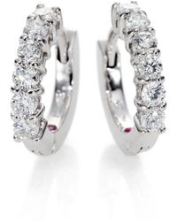 Roberto Coin Diamond & 18k White Gold Huggie Hoop Earrings/0.5 - Metallic