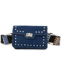 Steve Madden Studded Denim And Guitar Strap Belt Bag - Blue