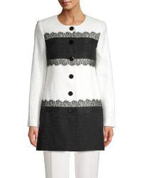 Karl Lagerfeld - Longline Contrast Tweed Jacket - Lyst