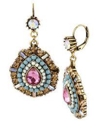 Betsey Johnson - Multi Colour Crystal And Bead Teardrop Earrings - Lyst