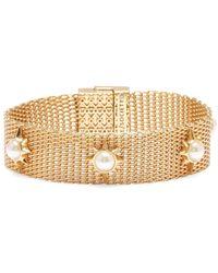 Sole Society Goldtone & Faux Pearl Mesh Bracelet - Metallic
