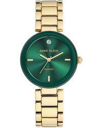 Anne Klein Diamond-dot Green Dial Goldtone Bracelet Watch - Metallic