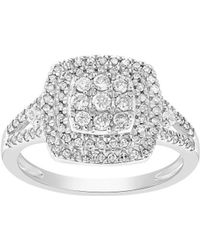 Lord + Taylor Square Diamond And 14k White Gold Ring - Metallic