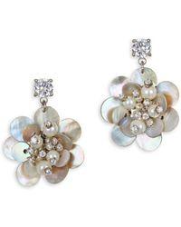 Badgley Mischka - Floral Shell Drop Earrings - Lyst