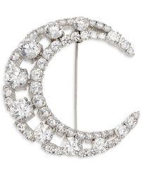 Nadri Rhodium-plated And Cubic Zirconia Crescent Moon Pin - Metallic