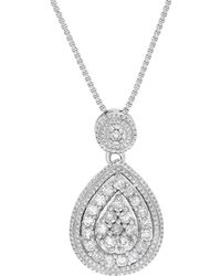 Lord + Taylor Diamond And Sterling Silver Teardrop-shape Pendant Necklace - Metallic