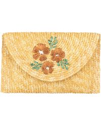 Bay Sky Embroidered Floral Clutch - Natural
