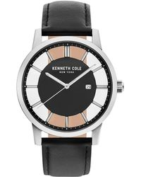 Kenneth Cole - Black Transparency Leather Strap Watch - Lyst