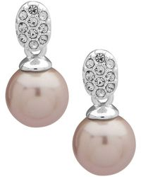 Ak Anne Klein - Silvertone And Faux Pearl Drop Earrings - Lyst