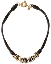 Robert Lee Morris Atlantis Two-tone Ring And Leather Necklace - Metallic