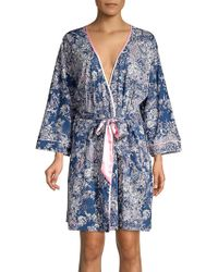 Sesoire Printed Cotton Blend Robe - Blue