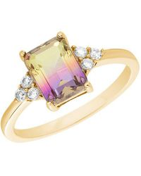 Lord + Taylor Goldplated Sterling Silver And Ombre Cubic Zirconia Cocktail Ring - Pink