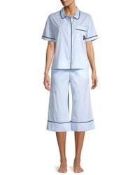 Kate Spade 2-piece Cropped Cotton Blend Pyjama Set - Blue