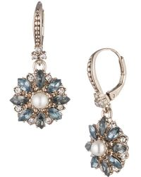 Marchesa Faux Pearl And Crystal Small Drop Earrings - Metallic