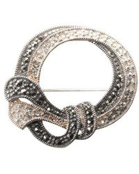 Lord + Taylor Sterling Silver And Marcasite Crystal Round Pin - Metallic