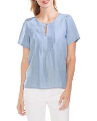Vince Camuto Mystic Blooms Pintuck Front Blouse - Blue