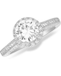Lord + Taylor Rhodium-plated Sterling Silver And Cubic Zirconia Round Halo Engagement Ring - Metallic