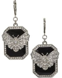 Vince Camuto Silvertone And Glass Stone Butterfly Charm Drop Earrings - Metallic