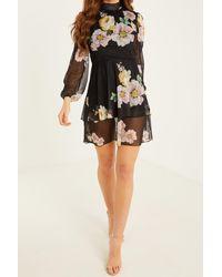 Quiz Floral High Neck Tiered Skater Dress - Black