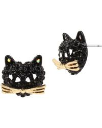 Betsey Johnson - Skeletons After Dark Pave Cat Stud Earrings - Lyst
