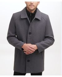 Kenneth Cole Single Breasted Button Wool Coat - Gray