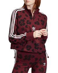 adidas Triple Stripe Floral Half - Zip Sweatshirt - Red