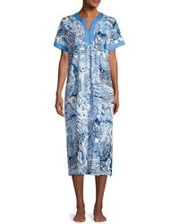 Miss Elaine Paisley Printed Zip Nightgown - Blue