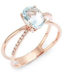 Lord + Taylor - 14k Rose Gold 0.07 Tcw Diamond And Aquamarine Ring - Lyst