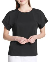 Calvin Klein - Faux Pearl-embellished Short-sleeve Top - Lyst
