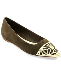 B Brian Atwood - Cap Toe Suede Ballet Flats - Lyst
