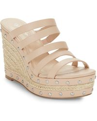 Charles David - Loyal Studded Leather Espadrille Wedges - Lyst