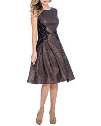 Decode 1.8 - Lace-floral Crinkled Taffeta Fit-&-flare Dress - Lyst