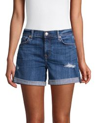 7 For All Mankind Mid-rise Denim Shorts - Blue