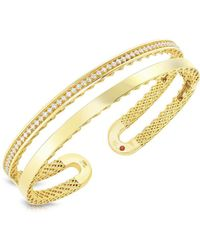 Roberto Coin - Double Symphony Diamond & 18k Yellow Gold Bangle - Lyst