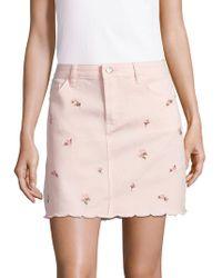 Kensie - Floral Scalloped Denim Mini Skirt - Lyst