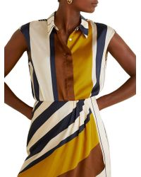 Mango - Printed Striped Satin Blouse - Lyst