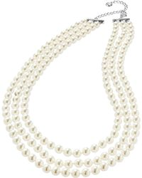 Nadri - Three-row Pearl Necklace - Lyst