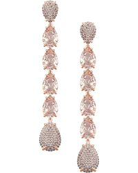 Swarovski Rose Goldplated And Crystal Mix Linear Earrings - Metallic