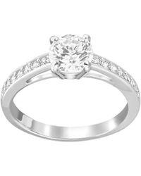 Swarovski - Attract Silvertone Round Crystal Ring - Lyst