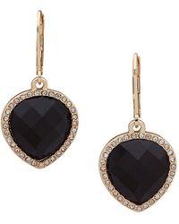 Anne Klein Gold-tone Stone & Crystal Teardrop Drop Earrings - Metallic