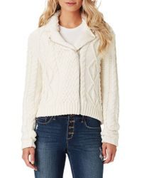 Jessica Simpson - Vicky Fur-trimmed Cable Knit Sweater - Lyst
