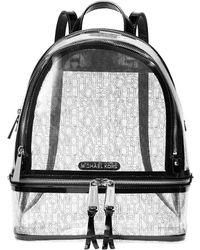MICHAEL Michael Kors Medium Rhea Clear Zip Backpack - Black