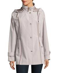 Gallery - Contrast-trim Hooded Raincoat - Lyst