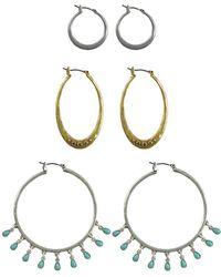 Lucky Brand Goldtone And Silvertone Beaded Triple Hoop Earrings Set - Multicolour