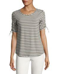 Jones New York - Striped Short Sleeve Top - Lyst