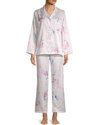 Miss Elaine 2-piece Floral Shirt & Wide-leg Trousers Pyjamas Set - Pink