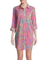 Lauren by Ralph Lauren - Plus Printed Roll-up Sleeve Sleepshirt - Lyst