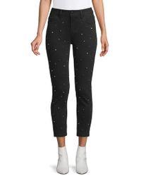 Kensie Skinny Crop Studded Jeans - Black
